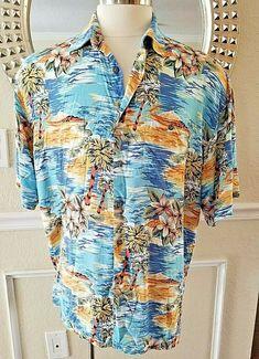 bb246531 Men's Hawaiian Shirt Size XL Palm Trees Tropical Beach Island Flowers  Campia Mod #CampiaModa #Hawaiian