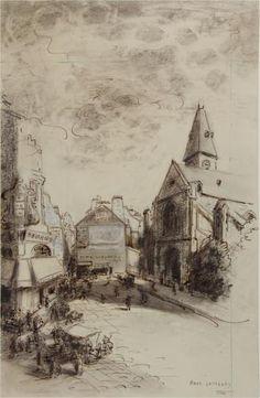 Parvis de l'église Saint-Médard et début de la rue Mouffetard. | Paris Musées