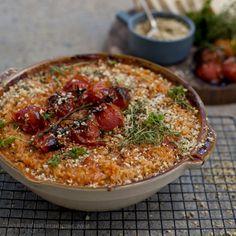 Baked Cherry Tomato Risotto w/ Hazelnut & Thyme Gremolata | Veggie num num