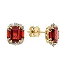 Garnet and Diamond Statement Earrings