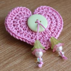 -Pretty Pink Crochet Heart Brooch with Green Button and Flower Beads