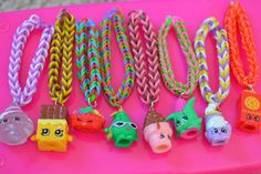 shopkin party idea. u can use something called rainbowloom to do this fun activity with shopkins.shopkin necklace