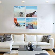 4PCS Frameless Canvas Print Beach Sunset Seascape Wall Art Home Decor