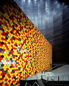 Christo and Jeanne-Claude, The Wall - 13,000 Oil Barrels, Gasometer, Oberhausen, Germany, 1998-99 (Photo: Wolfgang Volz) © 1999 Christo