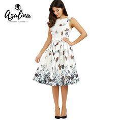 Find More Dresses Information about AZULINA Cute Women Summer Dress Sleeveless Floral Print Casual Female Vestido White 2017 A Line Robe Femme Dresses With Belt,High Quality summer dress,China women summer dress Suppliers, Cheap dress sleeveless from AZULINA Store on Aliexpress.com