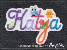 Aufnäher - bunterbunter Name mit kleiner Eule ♥ Wunschname - ein Designerstück von AnCaNi bei DaWanda