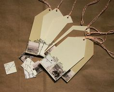 diy gift tags with small square photos and stamped over