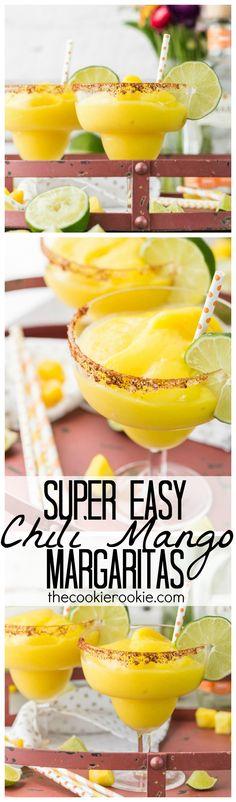 Super Easy Chili Mango Margaritas (Easily made Non-Alcoholic!)