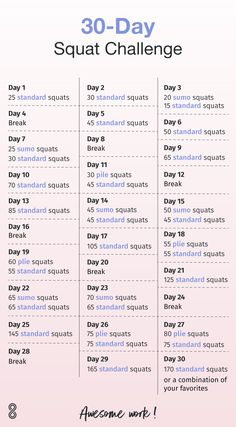 Squat Challenge Print it out and put it on your fridge or somewhere you pass by often. Do this squat challenge for strong legs and toned glutes. Abb Workouts, 30 Day Ab Workout, Intense Ab Workout, Month Workout, Workout Plans, Song Workouts, Cheer Workouts, Morning Workouts, Squat Workout
