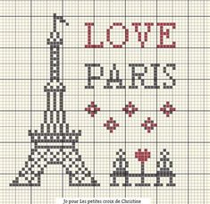 Eiffel Tower, Paris, France free cross stitch