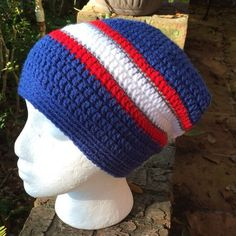 e25e34339e503 New England Patriots slouchy red white blue silver striped crocheted slouch  adult unisex beanie ski Crochet
