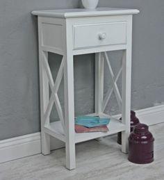 Telefontisch antik weiß Holz Beistelltisch – Bild 1