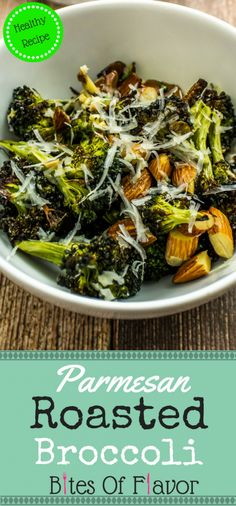 Parmesan Roasted Broccoli is broccoli & almonds roasted with lemon juice & topped with shredded cheese is delicious with every bite! Gluten Free Recipes Side Dishes, Side Dish Recipes, Easy Dinner Recipes, Dinner Ideas, Healthy Vegetable Recipes, Vegetable Side Dishes, Veggie Food, Broccoli Bites, Broccoli Salad