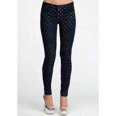 Bebe Blue Polka Dot Icon Skinny Jean ($119) ❤ liked on Polyvore
