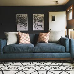 Amazing to see the two different living room looks using the same Jonathan Louis sofa. One is light and airy with white, grays, and blues and the other is cozy, dark and moody with black walls, and an eclectic mix.