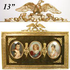 RARE Antique French TRIPLE Portrait Miniature: Napoleon I, Marie-Louise &…