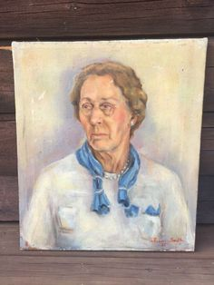 Painting: Antique Oil On Canvas Painting Portrait Woman Victorian Old Lady Signed & Dated