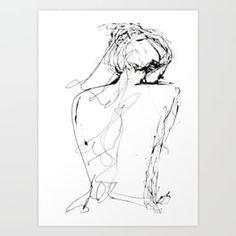 Virginia Art Print by elodiebachelier Bathroom Art, Basement Bathroom, Master Bathroom, Bathrooms, Woman Drawing, Body Drawing, People Art, Line Drawing, Online Art