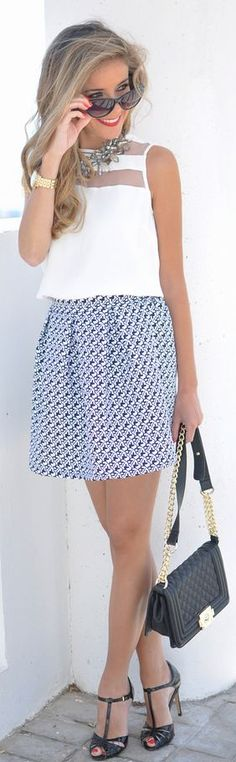 Dresslux Black And White Patterned Pleated A-skirt by Te Cuento Mis Trucos.