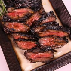 Grilled Skirt Steak (Michael Symon) *GREAT* MADE 1 pound Skirt Steak ( or Flank; Beef Heart) 1 cup Balsamic Vinegar cup Brown Sugar 2 Garlic cloves (smashed) 2 sprigs of Rosemary 1 teaspoons Chili Flake Olive Oil Salt and Pepper The Chew Recipes, Meat Recipes, Dinner Recipes, Cooking Recipes, Cooking Tips, Fish Recipes, I Love Food, Good Food, Gastronomia
