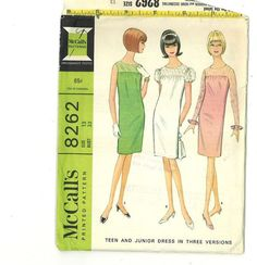1960s Vintage Sewing Pattern McCalls 8262 Yoked Cocktail Dress Chemise Shift Juniors Size 13 Bust 33 UNCUT 1966 60s. $8.00, via Etsy.