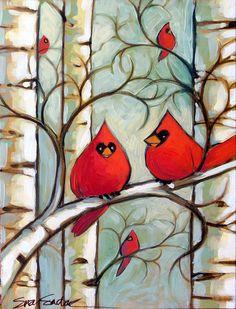 Winter Cardinals III original acrylic painting by SuzySadakFineArt