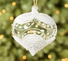 Flocked Motif Glass Onion Ornament
