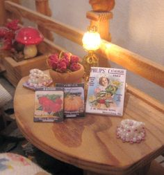 dollhouse garden seed packets catalogue by Rainbowminiatures