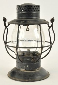 """Dietz No. 39 Standard tall globe bellbottom lantern with clear CNX cast globe reading Pennsylvania Lines, lantern body is unmarked. size: 10"""" t."""