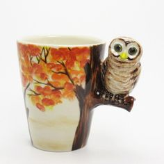 Owl Mug on the orange flower tree Ceramic Hand Painted