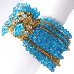 DeMario Gold Chains and Filigree and Aqua Poured Glass Bracelet