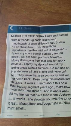 Mosquito yard spray - mouthwash, Epsom salt, beer                                                                                                                                                      More Outdoor Projects, Garden Projects, Outdoor Ideas, Garden Ideas, Mosquito Yard Spray, Mosquito Killer, Anti Mosquito, Mosquitoes, Pest Control