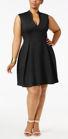 Soprano Trendy Plus Size Pleated Fit & Flare Dress.the perfect little black dress Plus Size Black Dresses, Plus Size Outfits, Moda Plus Size, Trendy Plus Size, Plus Size Fashion For Women, Plus Size Women, Curvy Girl Fashion, Womens Fashion, Modelos Plus Size
