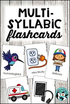 Multi-syllabic word flashcards for speech therapy or phonological awareness activity. 3-syllable, 4-syllable, and 5-syllable words are included in these decks.