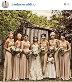 Champagne bridesmaid dresses for fall wedding