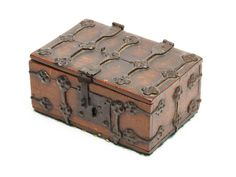 A rare beech and iron-bound table casket, French, probably 16th Century