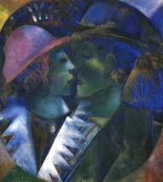 """CHAGALL: """"Green Lovers"""" Guazzo, Olio su carta montata su cartone. 48 x 45.5, Collezione Privata"""