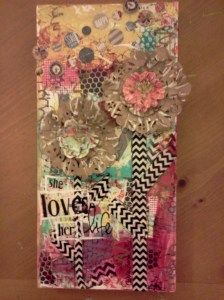 Fun Flowers - from Christy Tomlinson's Behind the Art October mixed media kit tutorial - by Carla Bange
