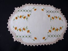 Vintage linen embroidered table centre, table center, doily, yellow poppies by TheLinenDrawer on Etsy