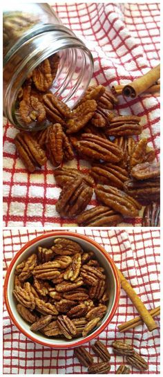 These maple cinnamon toasted pecans are easy to make and taste amazing. They are vegan, gluten free ,Paleo and dairy free, too! Gluten Free Snacks, Dairy Free Recipes, Paleo Recipes, Snack Recipes, Cookbook Recipes, Delicious Recipes, My Favorite Food, Favorite Recipes, Healthy Cooking