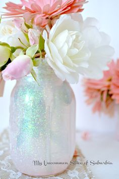 How to make DIY Mason Glitter Jars, My uncommon slice of suburbia I like the overall look and the colors, love her big photos on the side bar (Bottle Flower Mason Jars) Mason Jar Projects, Mason Jar Crafts, Mason Jar Diy, Diy Projects, Mason Jar Vases, Burlap Projects, Project Ideas, Craft Ideas, Grandes Photos