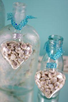 Beach Decor Seashell Christmas Ornaments - Set of 3 Glass Heart Shape Christmas Holiday Ornaments. $18.00, via Etsy.