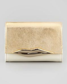 Lips Mini Metallic Clutch Bag, Light Gold by Diane von Furstenberg at Neiman Marcus.