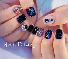Korean Nails Korean Art in 2019 Korean Nail Art, Korean Nails, Korean Art, Asian Nails, Exotic Nails, Nail Swag, Sparkle Nails, Bling Nails, Cute Nails