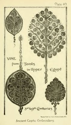 Nature in Ornament (1892) by Lewis F Day. Plate 49. ANCIENT COPTIC EMBROIDERY - S.K.M.