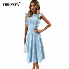 VIEUNSTA Women Ruffle Elegant Sundress Sexy Lace Boho Beach Party Dresses  Summer O Neck Sleeveless Slim 87fb6abbd