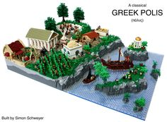 This MOC was built for the Kockice Brickstory Contest. In this build I tried to show the Greek culture in a small city. I don't claim that it is realistic or even 100% historical correct - I rather tried to put in there as much elements that are typical for (ancient) Greece. So I included (from the right to the left): - An oracle (θόλος), inspired by the one in Delphi - A herder with some goats. Not something special Greek, but in very many tragedies and myths they play an important role…