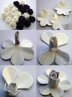 gül yapımı keçeden White Roses, Place Cards, Place Card Holders
