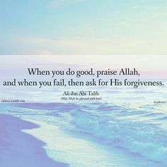 when you do good praise Allah s.w.t and when you fail then ask for his forgiveness.  -Ali ibn abi talib (R.A) quotes