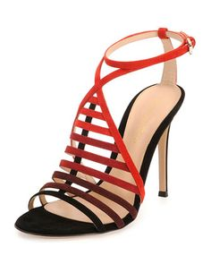 Suede Ombre Caged Sandal by Gianvito Rossi at Bergdorf Goodman.
